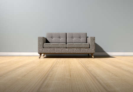 wood flooring: An empty  room in a house with grey walls and a reflective wooden floor with a modern couch