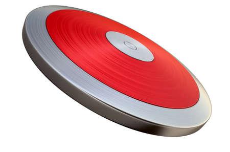 lanzamiento de disco: Un disco de atletismo regular en un aislado fondo blanco del estudio