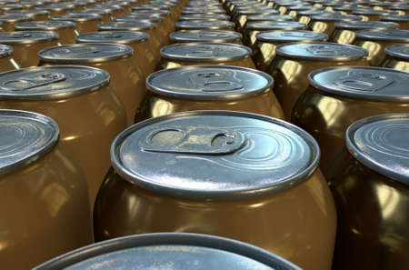 end of the line: A collection of tin beer cans at the end of a factory production line Stock Photo