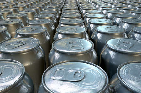 beer production: A collection of tin drink cans at the end of a factory production line