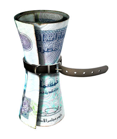 tightened: A regular leather belt that has been tightened very narrow around a rolled dirham bank note on an isolated white studio background