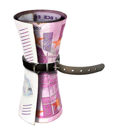 tightened: A regular leather belt that has been tightened very narrow around a rolled euro bank note on an isolated white studio background