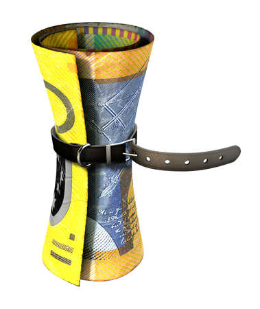 australian dollar notes: A regular leather belt that has been tightened very narrow around a rolled australian dollar bank note on an isolated white studio background