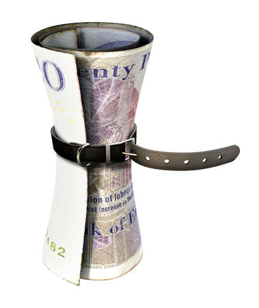 tightened: A regular leather belt that has been tightened very narrow around a rolled british pound bank note on an isolated white studio background