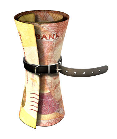 rand: A regular leather belt that has been tightened very narrow around a rolled south african rand bank note on an isolated white studio background