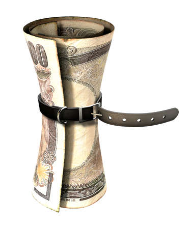 yen note: A regular leather belt that has been tightened very narrow around a rolled japanese yen bank note on an isolated white studio background