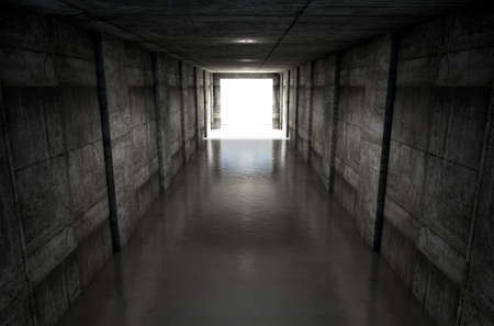 look down: A distant look down a dark stadium sports tunnel to enter a lit arena in the distance