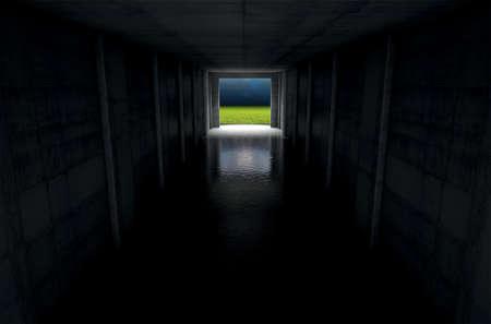 暗いスタジアムを遠くで見るスポーツの距離で点灯してアリーナを入力するトンネル