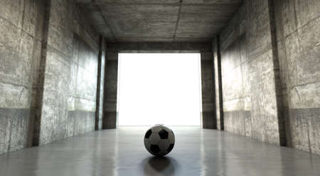 passion play: A distant look down a dark stadium sports tunnel to enter a lit arena in the distance with a soccer ball placed in the entrance