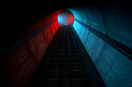 diminishing perspective: A brick underground train tunnel  that splits into two directions in the distance each distinctly coloured blue and red