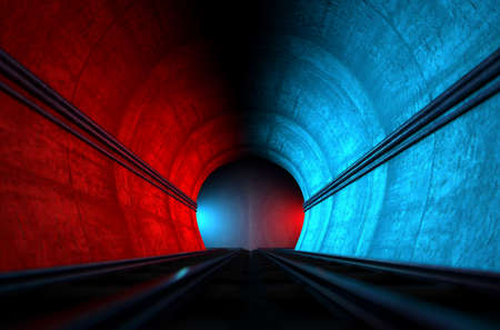 vehicle track: A brick underground train tunnel  that splits into two directions in the distance each distinctly coloured blue and red