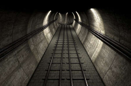 brick road: A brick underground train tunnel  that splits into two directions in the distance