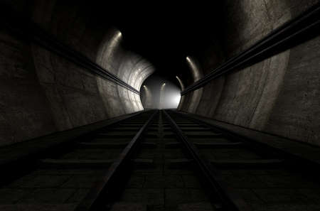 approaching: A brick underground train tunnel  that splits into two directions with an apparent train approaching around the corner