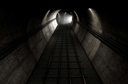 road tunnel: A brick underground train tunnel  that splits into two directions with an apparent train approaching around the corner