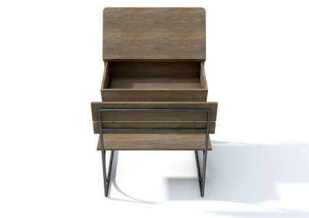 ink well: A 3D rendering of an empty vintage wooden school desk with an open hinged lid and bench seat on an isolated white studio background