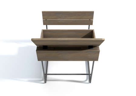 hinged: A 3D rendering of an empty vintage wooden school desk with an open hinged lid and bench seat on an isolated white studio background