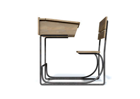 ink well: A 3D rendering of a vintage wooden school desk with a hinged lid and bench seat on an isolated white studio background