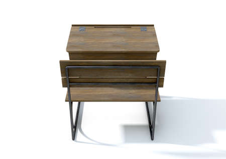 hinged: A 3D rendering of a vintage wooden school desk with a hinged lid and bench seat on an isolated white studio background