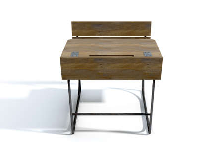 isolated chair: A 3D rendering of a vintage wooden school desk with a hinged lid and bench seat on an isolated white studio background