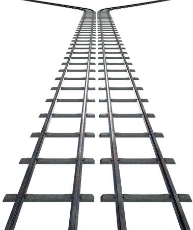 separate: A train track that splits into two directions on an isolated white studio background Stock Photo