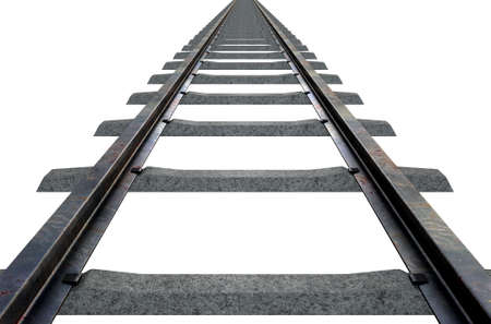 railroads: A train track disappearing into the distance on an isolated white studio background Stock Photo