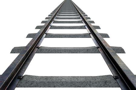 ferrocarril: Una vía de tren desapareciendo en la distancia en un aislado fondo blanco del estudio