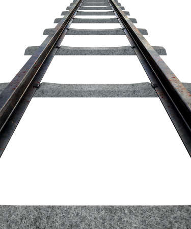 railway: A train track disappearing into the distance on an isolated white studio background Stock Photo