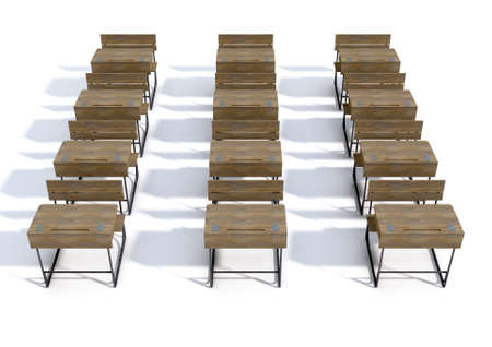hinged: A 3D rendering of an array of vintage wooden school desks set out in rows on an isolated white studio background