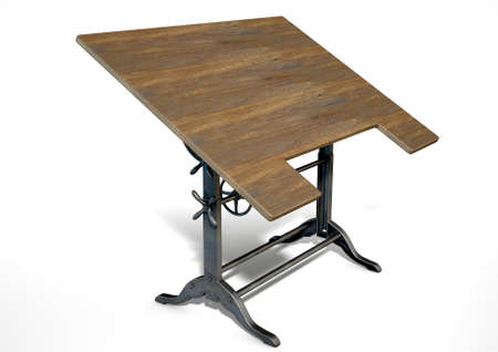 drafting table: A 3D rendering of an ornate vintage metal and wood drafting table on an isolate white studio background