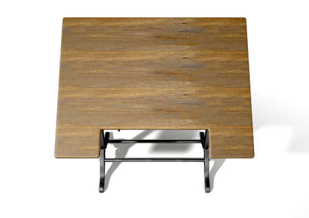 worksite: A 3D rendering of an ornate vintage metal and wood drafting table on an isolate white studio background