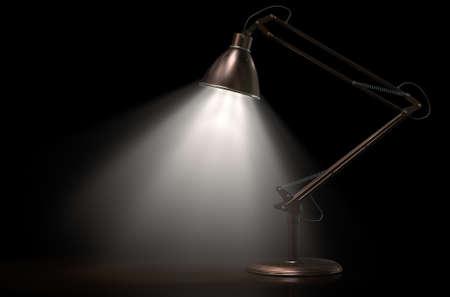 cobre: Una representación 3D de una lámpara iluminada cobre y latón de escritorio de la vendimia en un fondo aislado estudio oscuro