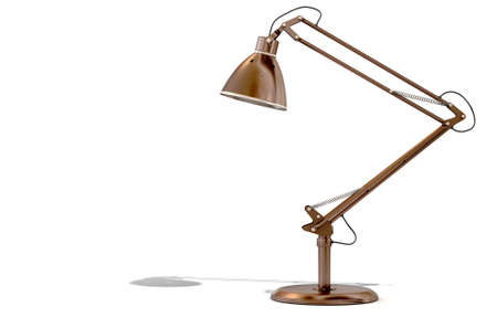 A 3D rendering of a vintage copper and brass desk lamp on an isolated white studio background