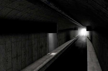 filth: A 3D rendering of an underground sewage system with a light emanating in from the distance Stock Photo