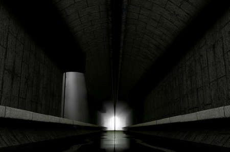emanating: A 3D rendering of an underground sewage system with a light emanating in from the distance Stock Photo