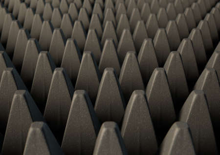 impenetrable: A 3D rendering of a section of grey patterned sound proof foam