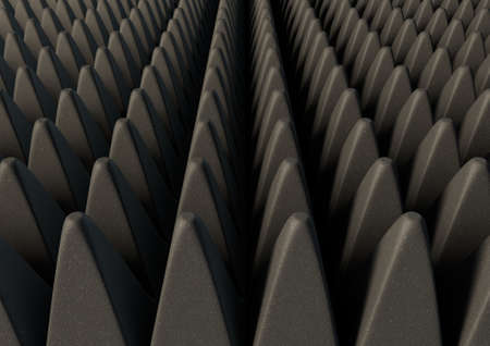 soften: A 3D rendering of a section of grey patterned sound proof foam
