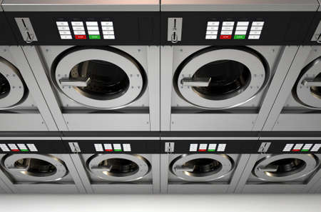 laundrette: A 3D render of a row of industrial  washing machines in a public laundromat
