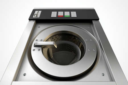 laundromat: A 3D render of an industrial washing machine on an isolated white studio background