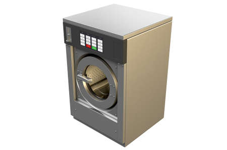 laundrette: A 3D render of an industrial washing machine on an isolated white studio background