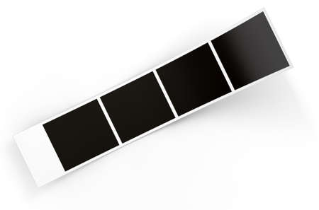 A 3D render of a strip of blank photos from an instant photobooth on an isolated white studio background