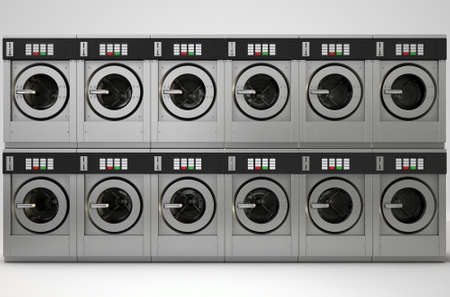 oversize load: A 3D render of a row of industrial  washing machines in a public laundromat
