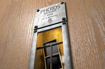 retrieval: A 3D render of an illuminated vintage photo booths retrieval slot with a photo strip in it on a wood finished surface Stock Photo