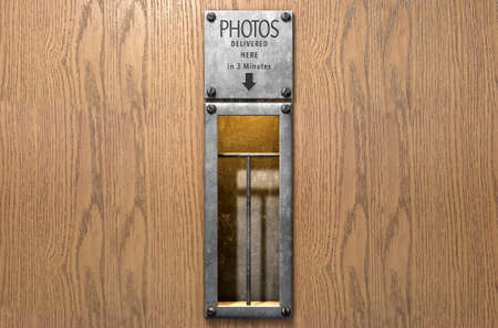 retrieval: A 3D render of an empty illuminated vintage photo booths retrieval slot on a wood finished surface