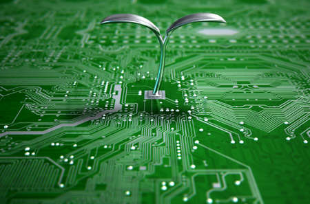 electronics industry: A 3D render of a macro view of a circuit board with a metal plant shoot growing out the centre on a dark isolated studio background Stock Photo