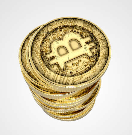 net trade: A 3D render of a stack of virtual gold bitcoin currency on an isolated white studio background Stock Photo