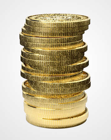 gold mining: A 3D render of a stack of virtual gold bitcoin currency on an isolated white studio background Stock Photo