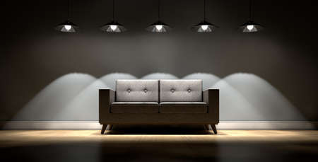 frilly: A modern couch in an empty room lit by retro light fittings