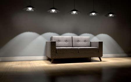 Eine moderne Couch in einem leeren Raum von Retro-Leuchten beleuchtet