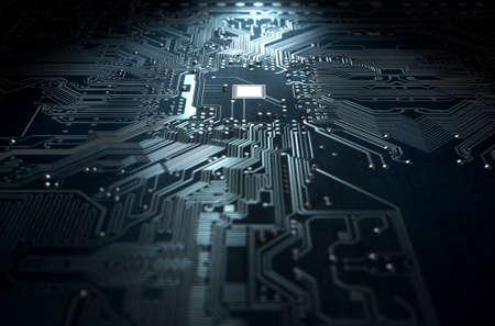 Eine 3D-Darstellung von einem Makro-Ansicht einer Leiterplatte auf einem dunklen isoliert Studio-Hintergrund