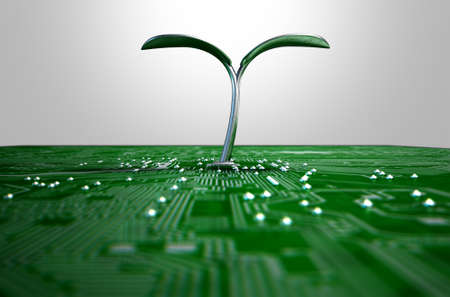 unnatural: A 3D render of a macro view of a circuit board with a metal plant shoot growing out the centre on a dark isolated studio background Stock Photo